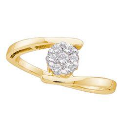 0.25 CTW Diamond Cluster Ring 14KT Yellow Gold - REF-34W4K