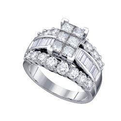 3 CTW Princess Diamond Cluster Bridal Engagement Ring 14KT White Gold - REF-344K9W