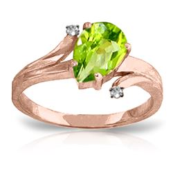 Genuine 1.51 ctw Peridot & Diamond Ring Jewelry 14KT Rose Gold - REF-51P4H