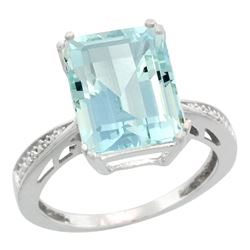 Natural 5.42 ctw Aquamarine & Diamond Engagement Ring 14K White Gold - REF-94N2G