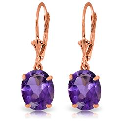 Genuine 6.25 ctw Amethyst Earrings Jewelry 14KT Rose Gold - REF-41Z2N