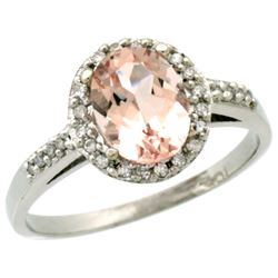 Natural 1.24 ctw Morganite & Diamond Engagement Ring 14K White Gold - REF-37R8Z
