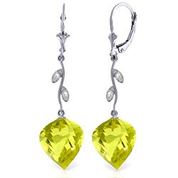 Genuine 21.52 ctw Lemon Quartz & Diamond Earrings Jewelry 14KT White Gold - REF-57Y6F
