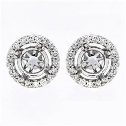 0.53 CTW Diamond Earrings 14K White Gold - REF-52H2M