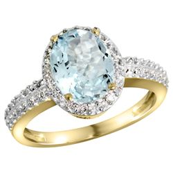 Natural 1.57 ctw Aquamarine & Diamond Engagement Ring 10K Yellow Gold - REF-38W2K