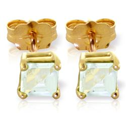 Genuine 0.80 ctw Aquamarine Earrings Jewelry 14KT Yellow Gold - REF-20R4P