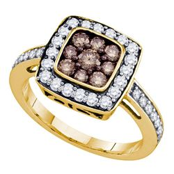 1 CTW Cognac-brown Color Diamond Square Cluster Ring 10KT Yellow Gold - REF-49W5K
