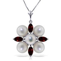 Genuine 6.3 ctw Garnet & Pearl Necklace Jewelry 14KT White Gold - REF-59K2V