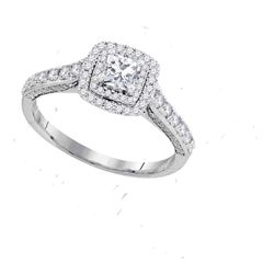 1 CTW Princess Diamond Solitaire Bridal Engagement Ring 14KT White Gold - REF-128Y9X