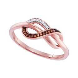 0.05 CTW Red Color Diamond Infinity Ring 10KT Rose Gold - REF-11X2Y