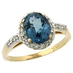 Natural 1.3 ctw London-blue-topaz & Diamond Engagement Ring 10K Yellow Gold - REF-26A3V