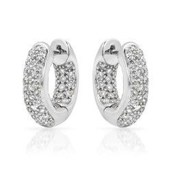 1.01 CTW Diamond Earrings 14K White Gold - REF-87F7N