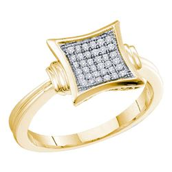 0.10 CTW Diamond Square Cluster Ring 10KT Yellow Gold - REF-14F9N