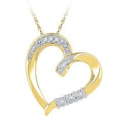 0.03 CTW Diamond Heart Love Pendant 10KT Yellow Gold - REF-14Y9X