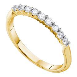 0.24 CTW Diamond 2mm Wedding Ring 14KT Yellow Gold - REF-30W2K