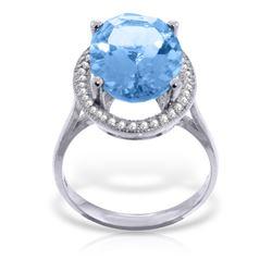 Genuine 7.58 ctw Blue Topaz & Diamond Ring Jewelry 14KT White Gold - REF-85Y2F