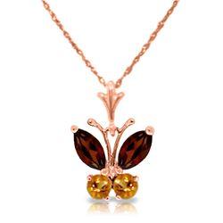 Genuine 0.60 ctw Garnet & Citrine Necklace Jewelry 14KT Rose Gold - REF-23M5T