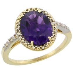 Natural 2.42 ctw Amethyst & Diamond Engagement Ring 10K Yellow Gold - REF-25K5R