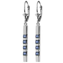 Genuine 0.70 ctw Sapphire Earrings Jewelry 14KT White Gold - REF-56N9R
