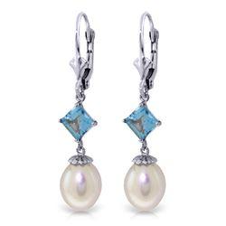 Genuine 9.5 ctw Blue Topaz Earrings Jewelry 14KT White Gold - REF-24H4X