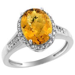 Natural 2.49 ctw Whisky-quartz & Diamond Engagement Ring 14K White Gold - REF-41N2G