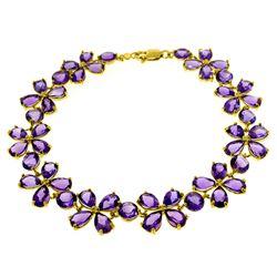 Genuine 20.7 ctw Amethyst Bracelet Jewelry 14KT White Gold - REF-142M9T