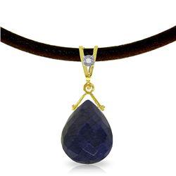 Genuine 7.81 ctw Sapphire & Diamond Necklace Jewelry 14KT Yellow Gold - REF-65T6A