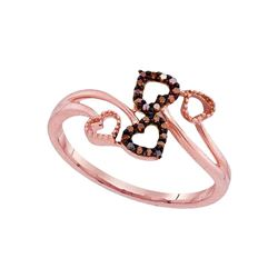 0.05 CTW Red Color Diamond Double Heart Bypass Ring 10KT Rose Gold - REF-12M2H