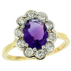 Natural 2.34 ctw Amethyst & Diamond Engagement Ring 10K Yellow Gold - REF-69R8Z