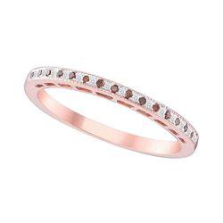 0.07 CTW Red Color Diamond Slender Ring 10KT Rose Gold - REF-13X4Y