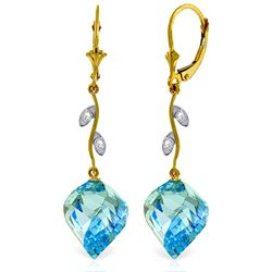 Genuine 27.82 ctw Blue Topaz & Diamond Earrings Jewelry 14KT Yellow Gold - REF-92P2H