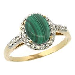 Natural 1.77 ctw Malachite & Diamond Engagement Ring 10K Yellow Gold - REF-24M6H