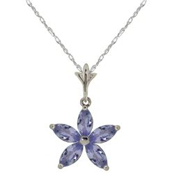 Genuine 1.40 ctw Tanzanite Necklace Jewelry 14KT White Gold - REF-37P6H