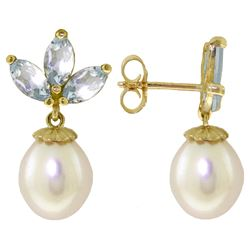 Genuine 9.5 ctw Aquamarine & Pearl Earrings Jewelry 14KT White Gold - REF-32F9Z