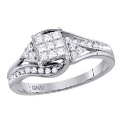 0.34 CTW Princess Diamond Cluster Bridal Engagement Ring 14KT White Gold - REF-52H4M