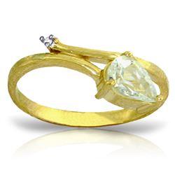 Genuine 0.83 ctw Aquamarine & Diamond Ring Jewelry 14KT Yellow Gold - REF-41A6K