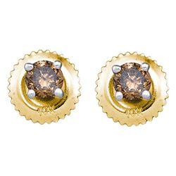 0.25 CTW Cognac-brown Color Diamond Solitaire Stud Earrings 10KT Yellow Gold - REF-10W5K