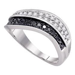 0.33 CTW Black Color Diamond Cocktail Ring 10KT White Gold - REF-30F2N