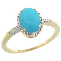 Natural 1.2 ctw Turquoise & Diamond Engagement Ring 14K Yellow Gold - REF-24F8N