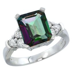 Natural 2.86 ctw mystic-topaz & Diamond Engagement Ring 14K White Gold - REF-65Z2Y