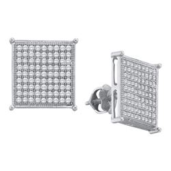0.50 CTW Diamond Square Cluster Screwback Earrings 10KT White Gold - REF-33W8K