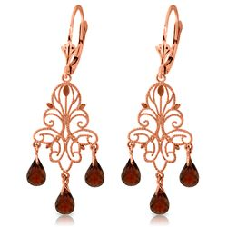 Genuine 3.75 ctw Garnet Earrings Jewelry 14KT Rose Gold - REF-46M7T
