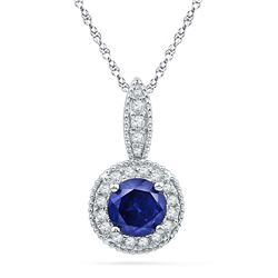 0.15 CTW Created Blue Sapphire Solitaire Diamond Pendant 10KT White Gold - REF-14N9F