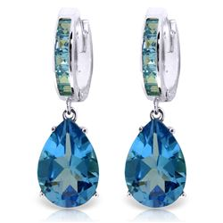 Genuine 13.2 ctw Blue Topaz Earrings Jewelry 14KT White Gold - REF-68K7V