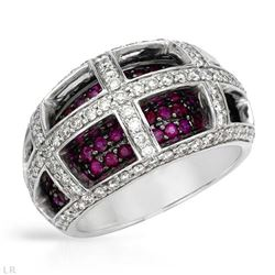 2.22 CTW Ruby & Diamond Ring 14K White Gold - REF-113R5K