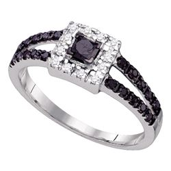 0.55 CTW Princess Black Color Diamond Halo Bridal Ring 14KT White Gold - REF-25H4M