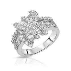 1.66 CTW Diamond Ring 18K White Gold - REF-177M5F