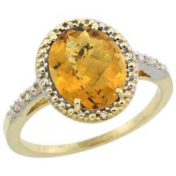 Natural 2.42 ctw Whisky-quartz & Diamond Engagement Ring 10K Yellow Gold - REF-24Y6X