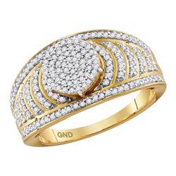 0.50 CTW Diamond Cluster Bridal Wedding Engagement Ring 10KT Yellow Gold - REF-44M9H