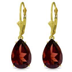 Genuine 10 ctw Garnet Earrings Jewelry 14KT Yellow Gold - REF-52M9T